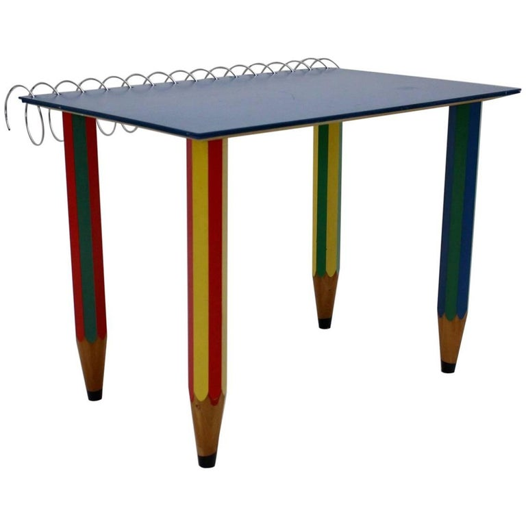Multicolored Pop Art Desk by Pierre Sala 1983