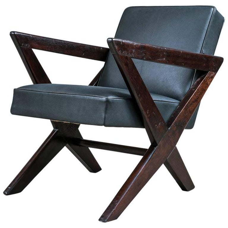 "Pierre Jeanneret, PJ-SI-45-B, ""Cross Easy Armchair"", Chandigarh, circa 1955"