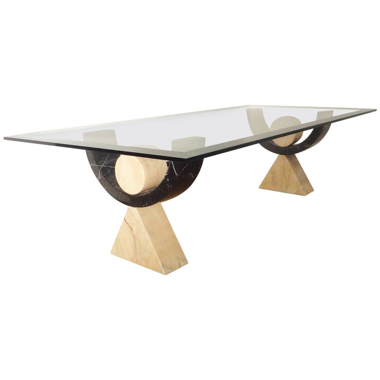 Rectangular Marble Coffee Table, 1970s by Philippe Barbier