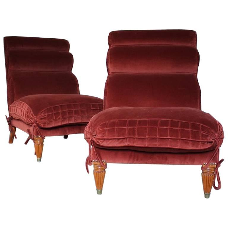 Interesting Pair of 1970s Italian Upholstered Chairs