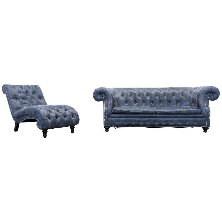 Chesterfield Sofa Set Alcantara Microfibre Fabric Grey Three Seat