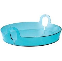 Contemporary Centerpiece Bent Glass Akasma Tray Aquamarine blue