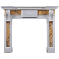 Antique Georgian Corbel Siena and Statuary Marble Fireplace Mantel