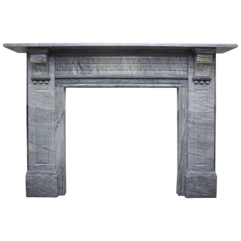 Large Late 19th Century Fire Surround in Bardiglio Grey Marble