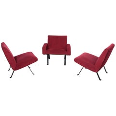 Rare Slipper Chairs by Joseph-André Motte for Steiner, France, 1955