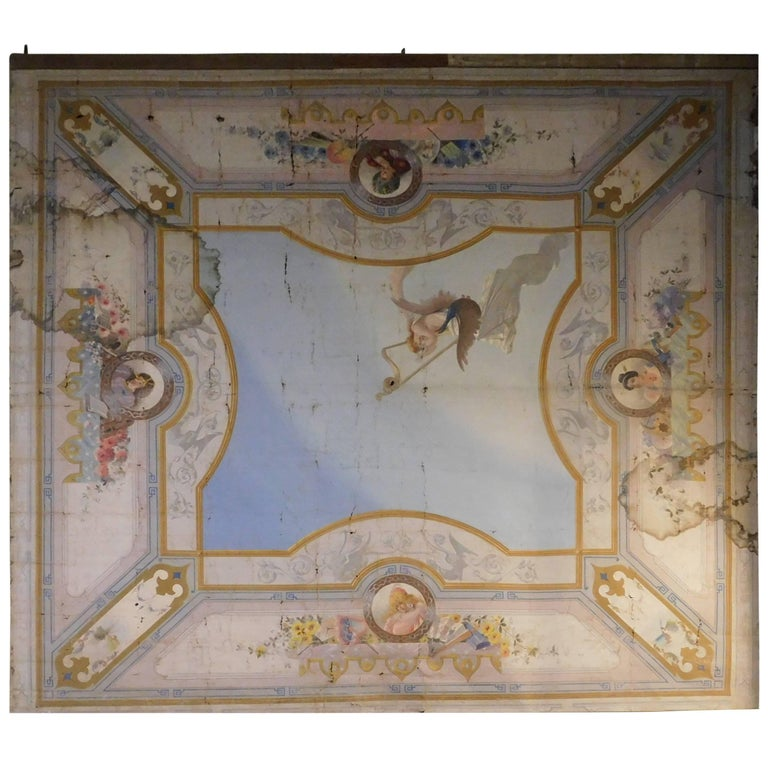 19th Century Antique Ceiling Painted Paper on Canvas from Naples, IT