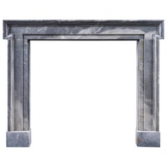 Mid-18th Century Mottled Grey Bardiglio Marble Antique Fireplace