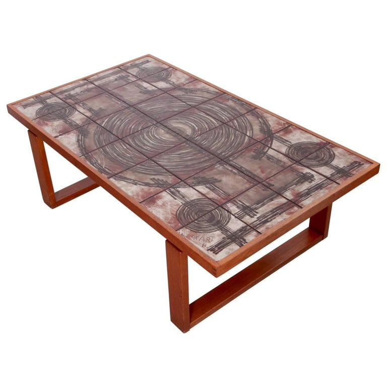 Teak Coffee Table South Africa: Large Danish Teak Art Sofa Or Coffee Table By Ox-Art For