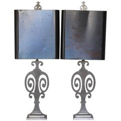 Pair of 1960s Steel Maison Charles Silhouette Table Lamps
