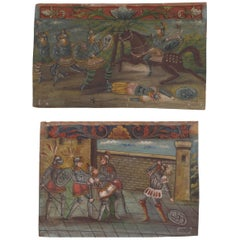 Pair of Decorative Continental Painted Wood Plaques