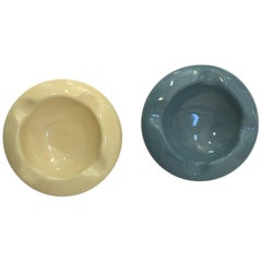 Art Deco Ceramic Ashtrays Blue and Yellow