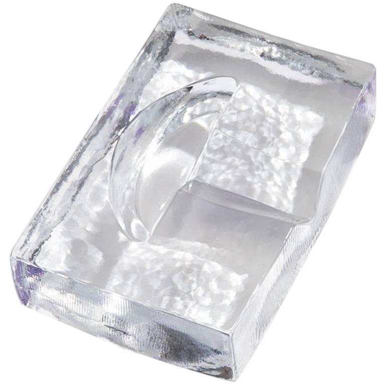 Point Ashtray in Clear Hand Cast Solid Glass