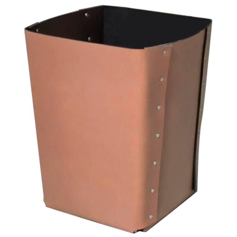 """Carlo"" Riveted Leather Wastepaper Bin by Claude Bouchard for Oscar Maschera For Sale"