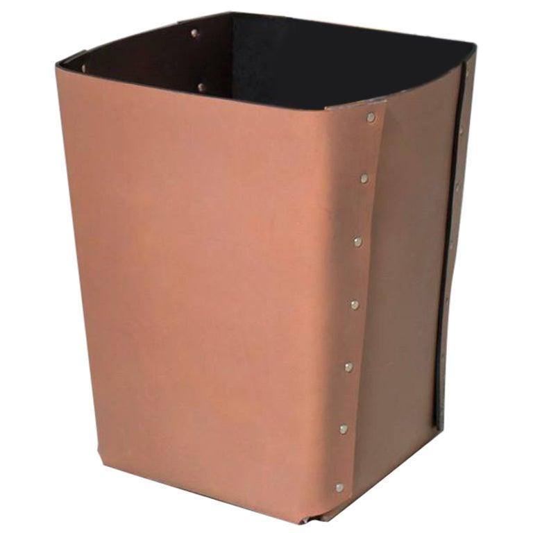 """Carlo"" Riveted Leather Wastepaper Bin by Claude Bouchard for Oscar Maschera"