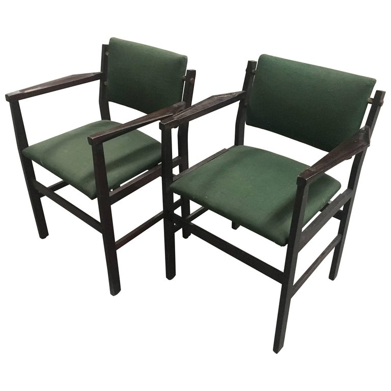 Pair of Italian Chairs with Original Green Fabric from 1960s