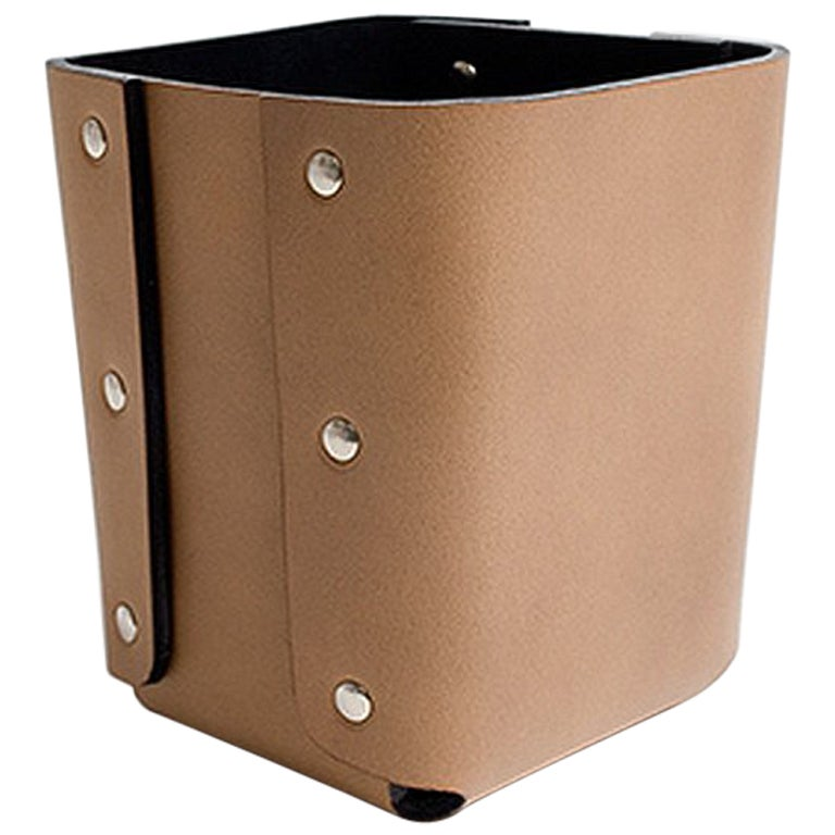 """Lorenzo"" Riveted Leather Pencil Holder by Claude Bouchard for Oscar Maschera"