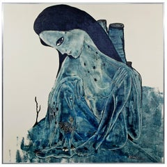 Mid-Century Modern Large Framed Blue Painting Canvas of a Woman Signed Kimball