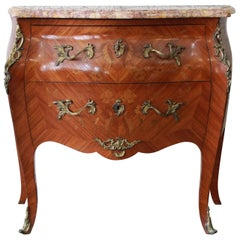 French Marble-Top Inlaid Bombay Chest with Mounted Bronze Ormolu