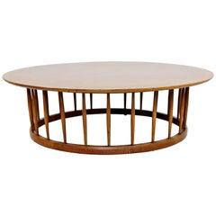 Mid-Century Modern John Van Koert for Drexel Round Walnut Spindle Coffee Table