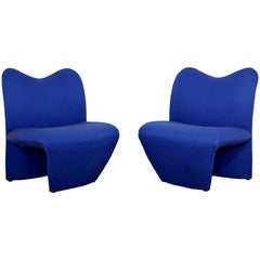 Mid-Century Modern Pair of Sculpted Accent Chairs Paulin Panton Style Italian