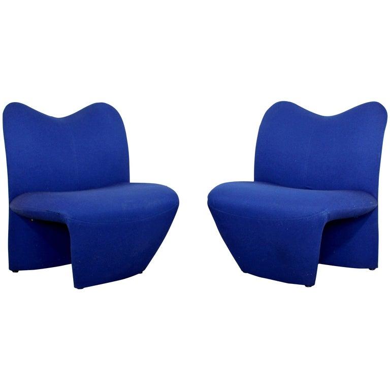 Mid-Century Modern Pair of Sculpted Accent Chairs Paulin Panton Style Italian
