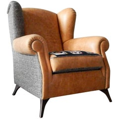 Italian Crafts Full-Grain Leather Epingle Fabric Patchwork Bergére Armchair