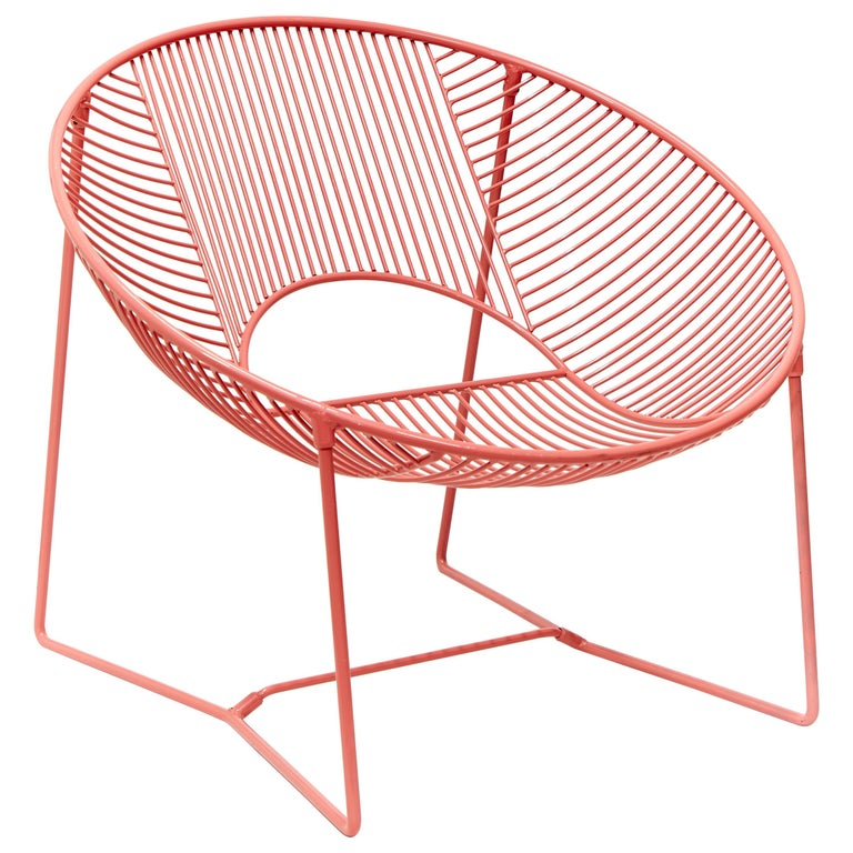 Handcrafted Outdoor Cali Wire Lounge Chair, Powder-Coated Steel