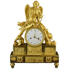 Table Clock Ormolu Bronze Signed Dumont, Paris, 19th Century