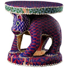 Bamileke Throne Stool with Leopard