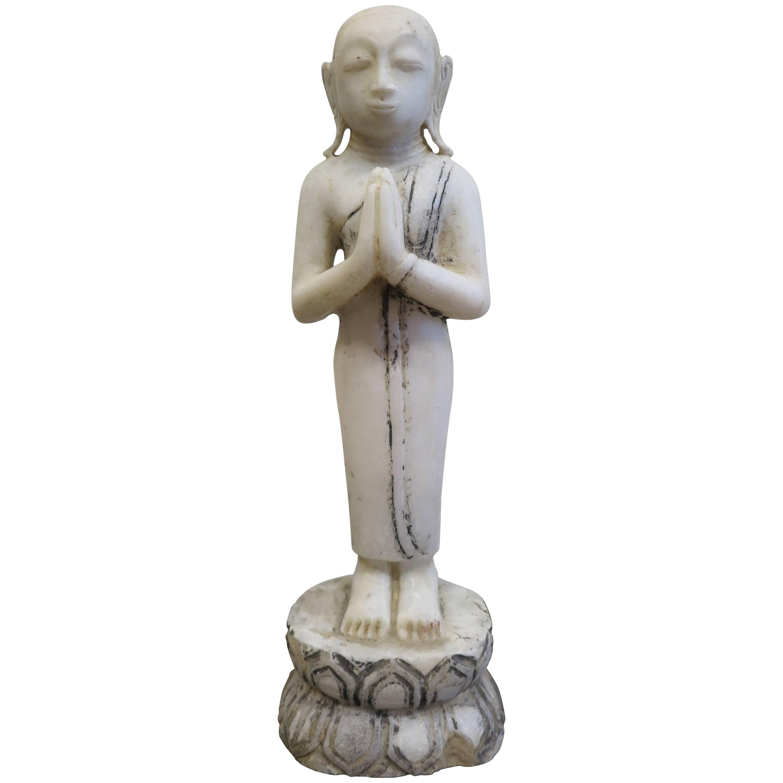 19th century Burmese Alabaster Buddhist Monk Statue