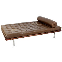 Mid-Century Modern Mies van der Rohe Knoll Brown Leather Daybed, 1970s