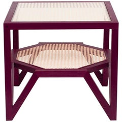 Hardwood and Woven Cane Side Table. Contemporary Design by O Formigueiro