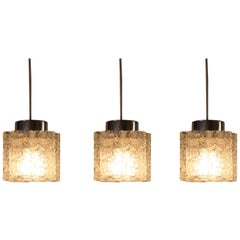 Set of Three Textured Glass Pendant Lights by Doria