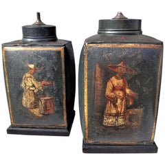 Pair of English Regency Green Chinoiserie Toile Tea Canisters Mounted as Lamps