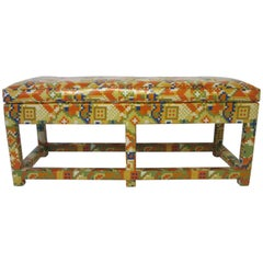 Upholstered Bench in the Manner of Karl Springer and Steve Chase
