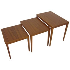 Danish Teak Wood Nesting Tables by Bent Silberg Mobler