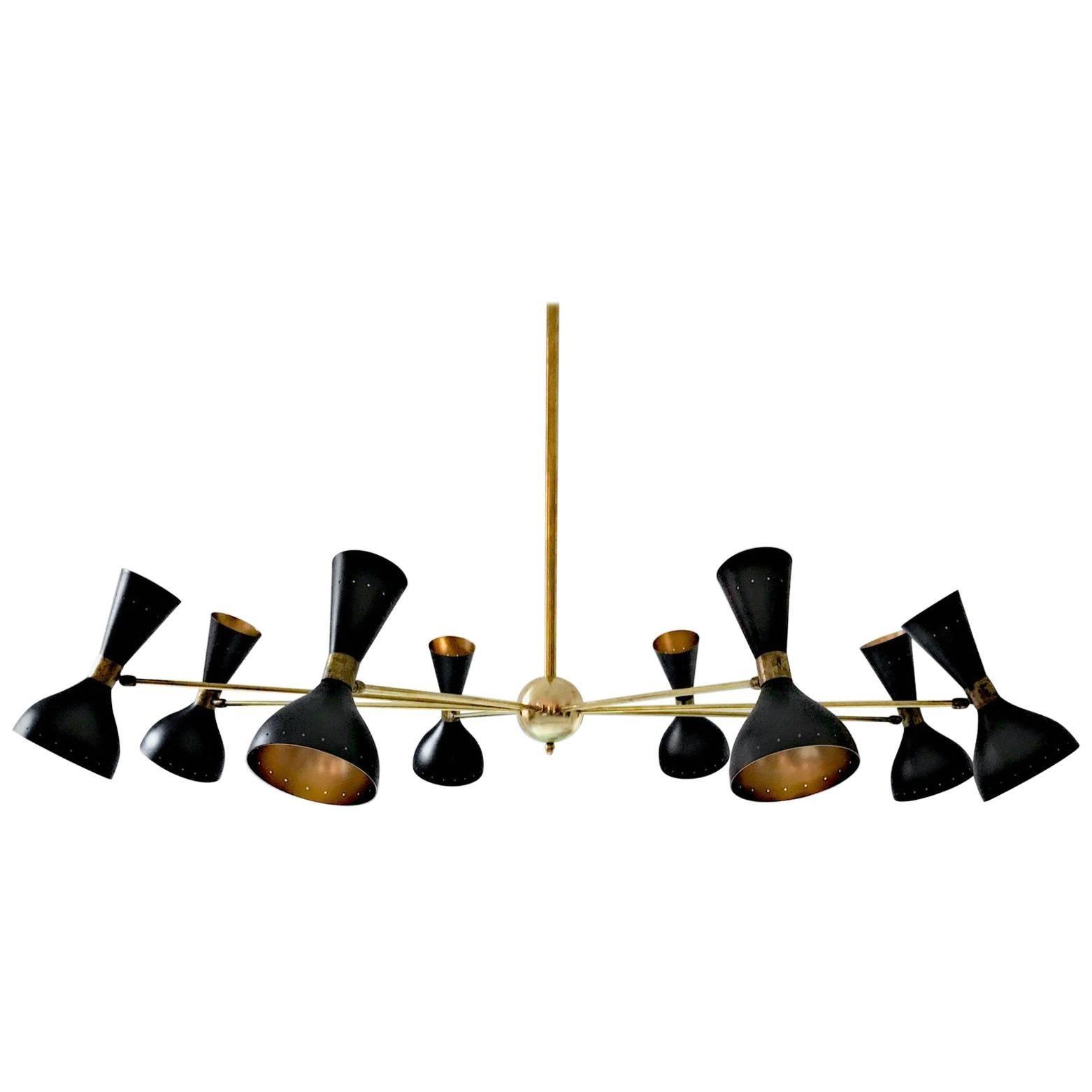 Eight-Arm Brass Chandelier, Ivory or Black Heads, Gold Inside in Stilnovo Style