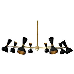 Eight-Arm Brass Chandelier, Ivory or Black Heads, Gold Inside in Stilnovo Style