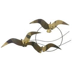 Curtis Jere Brass Flock of Seagulls Bird Wall Sculpture