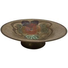 Art Nouveau A. Delbaux Brass Enameled Bowl, Made in France