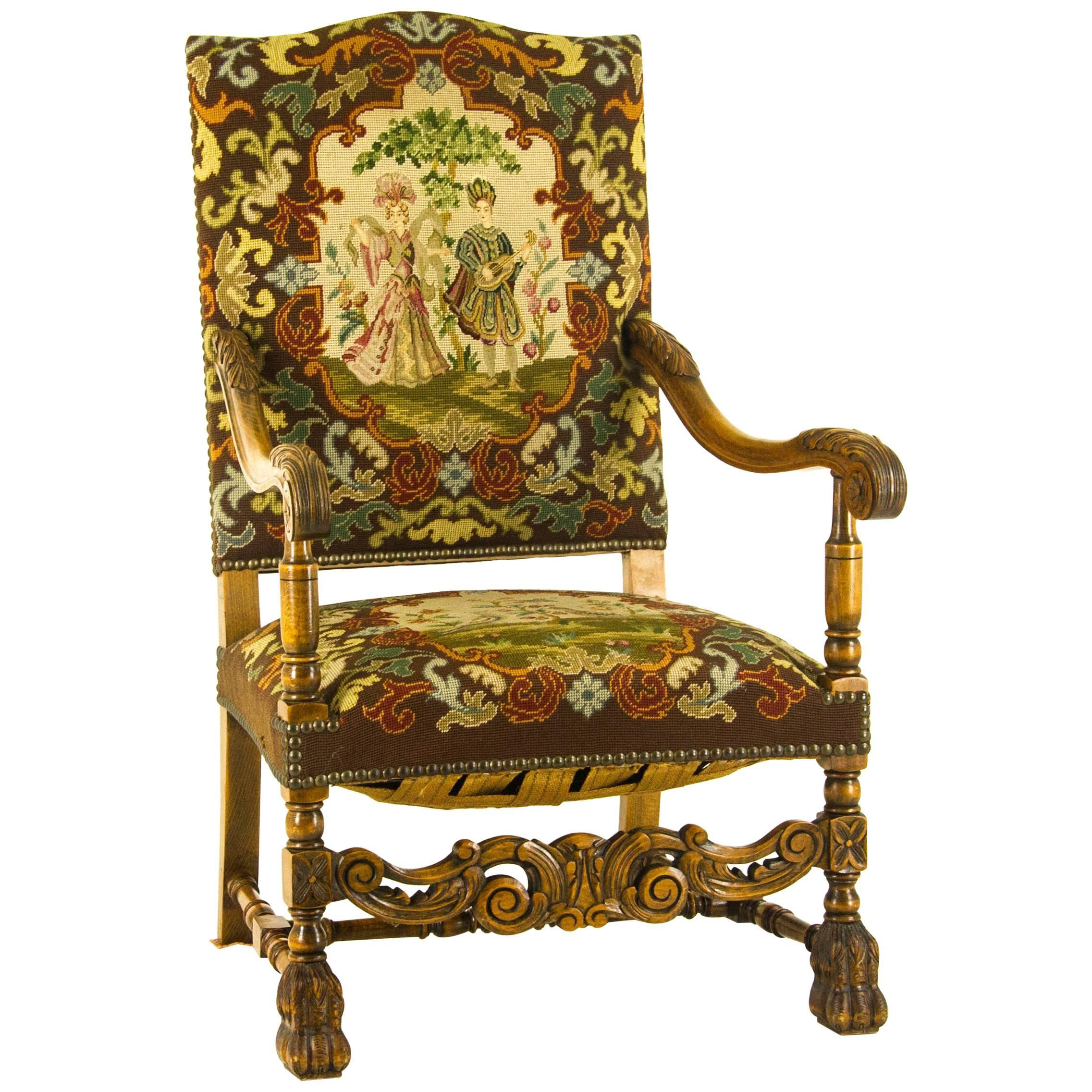 Charmant Antique Armchair, Walnut Antique Chair, France, 1880 REDUCED!!!! For