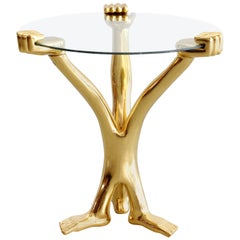 Signed Pedro Friedeberg Gilt Accent Table
