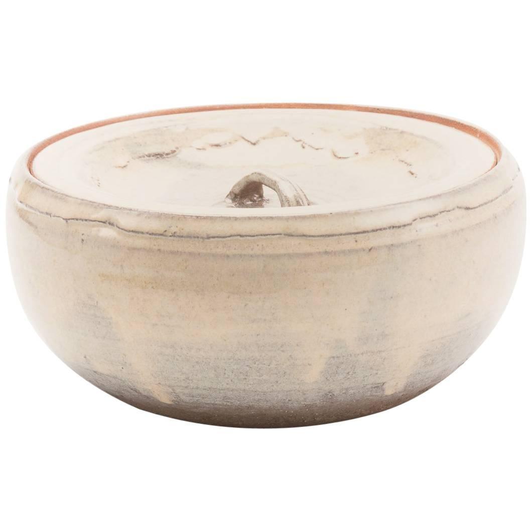 Vintage Japanese Hagi Pottery Mizusashi with Two Lids
