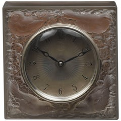 """Rene Lalique Clock """"Quatre Moineaux Du Japon"""" and Metal Light Base"""