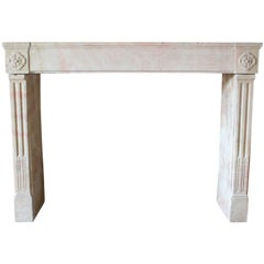 Antique Marble Stone Fireplace mantel, 19th Century Model Louis XVI