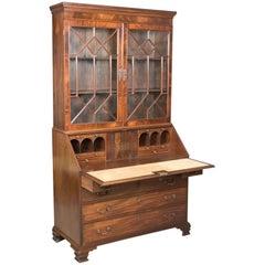 Antique Bureau Bookcase, English Late Georgian Mahogany Writing Desk