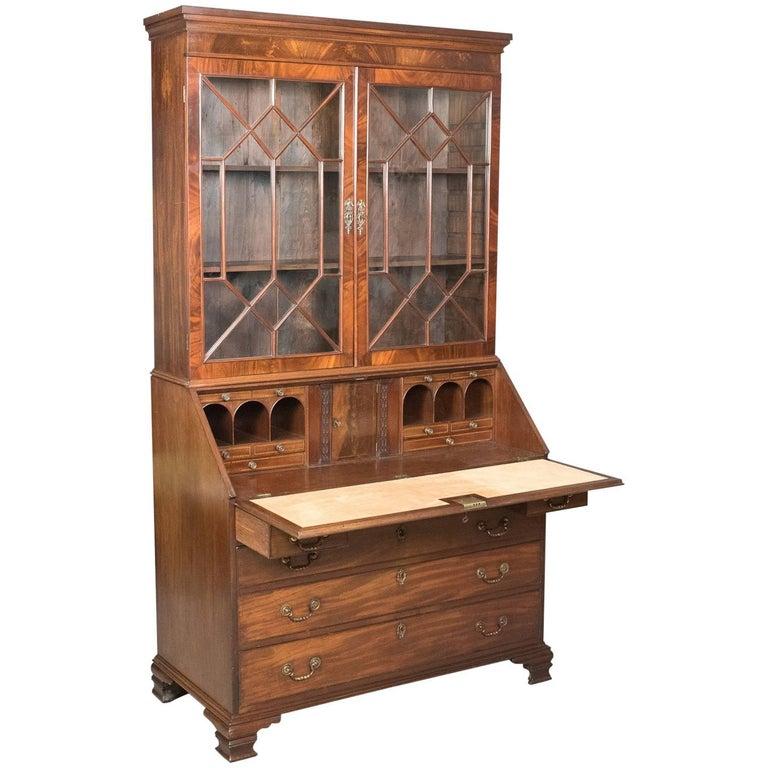 Antique Bureau Bookcase, English Late Georgian Mahogany Writing Desk For Sale