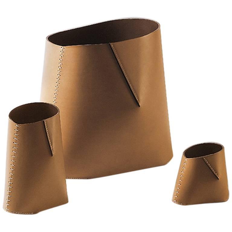 """Marcel"" Leather Basket Designed by Claude Bouchard for Oscar Maschera"