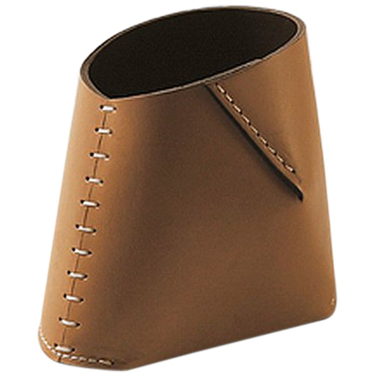 """Antonio"" Leather Pencil Holder Designed by Claude Bouchard for Oscar Maschera"