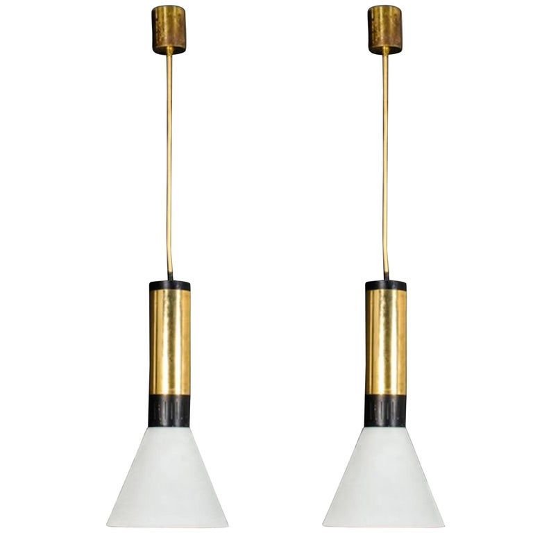 "Pair of Stilnovo Frosted Glass and Brass Pendants, Model ""1135"" Edited in 1960s"